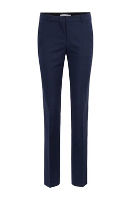 Slim-leg trousers in houndstooth Italian virgin wool, Patterned