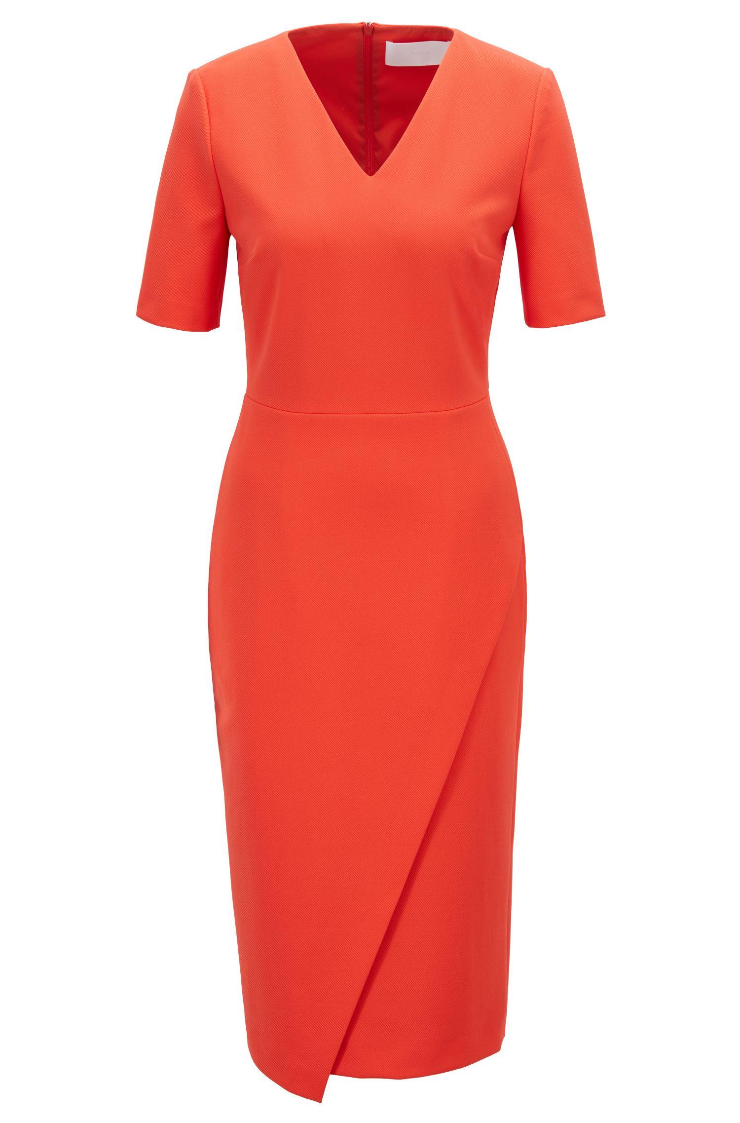 V-neck shift dress with asymmetric wrap skirt, Red