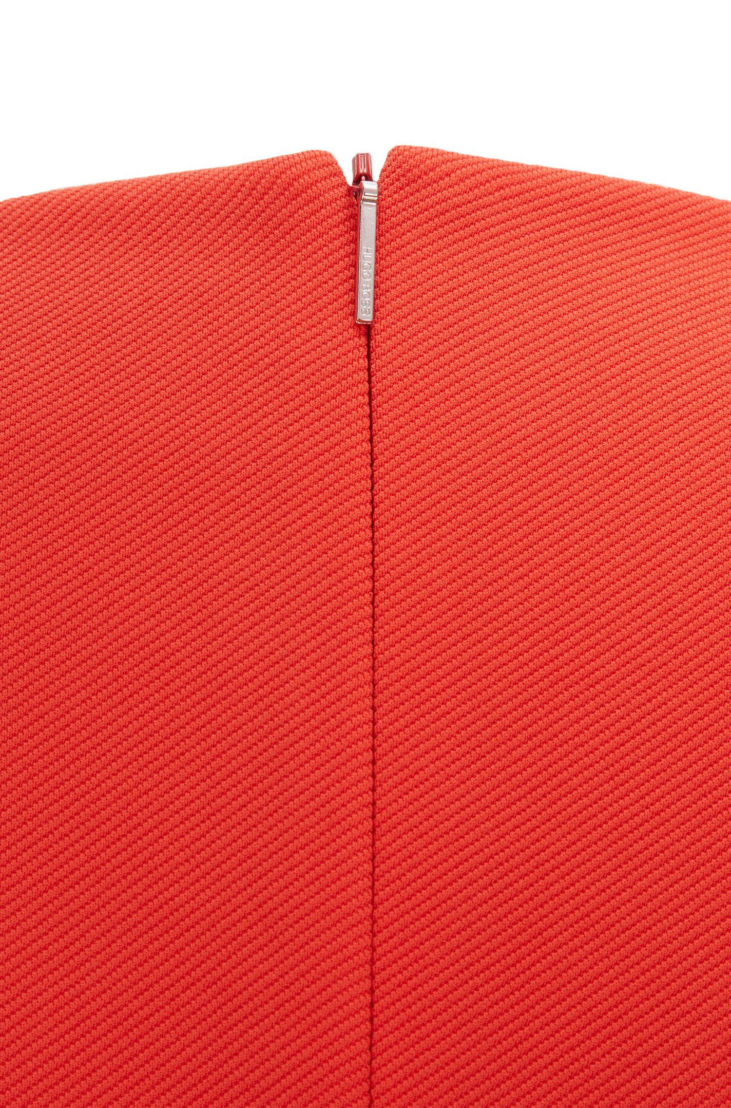 Robe droite à col V avec jupe portefeuille asymétrique, Rouge