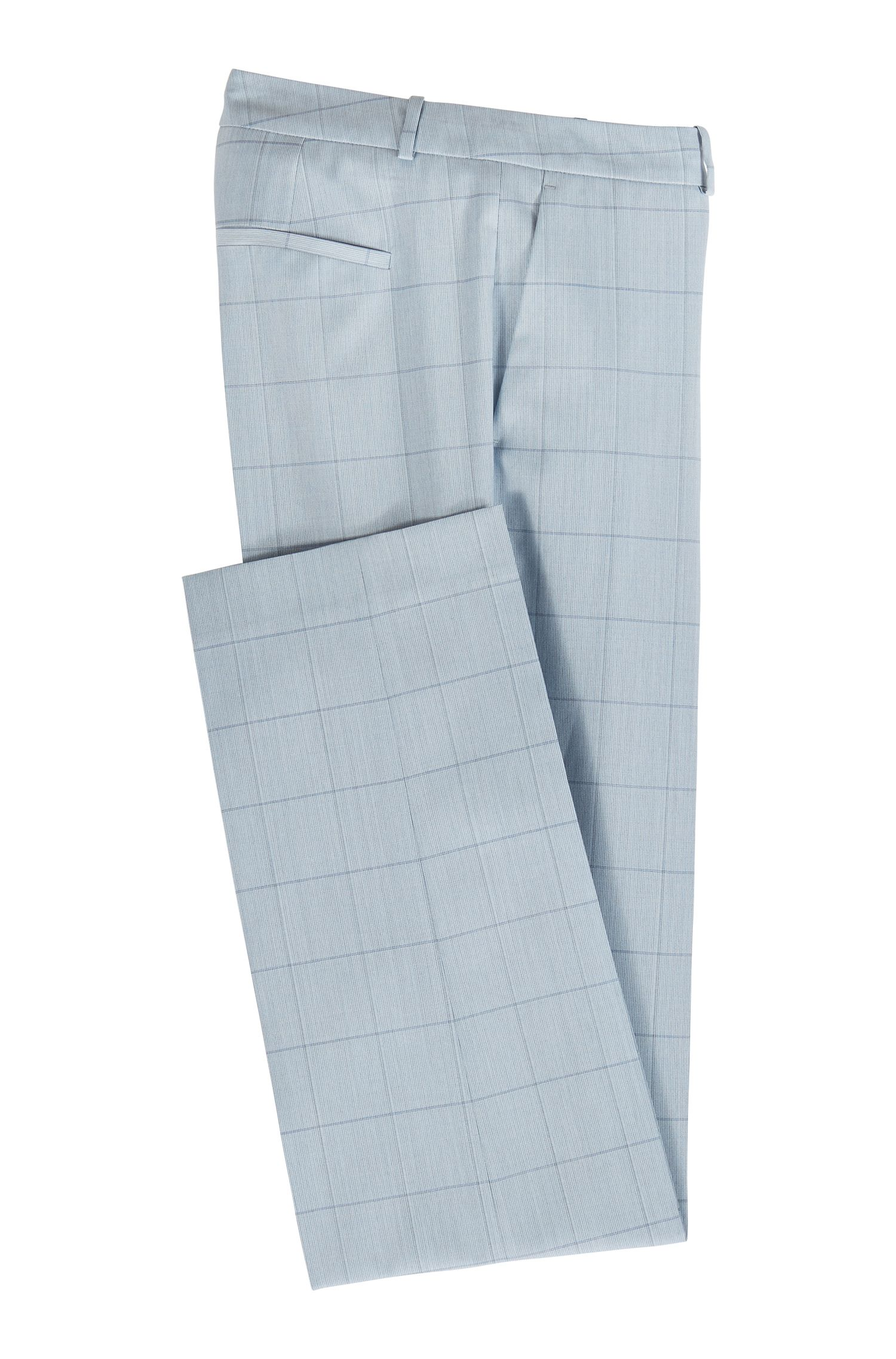 Pantaloni regular fit in misto lana-seta italiano, A disegni