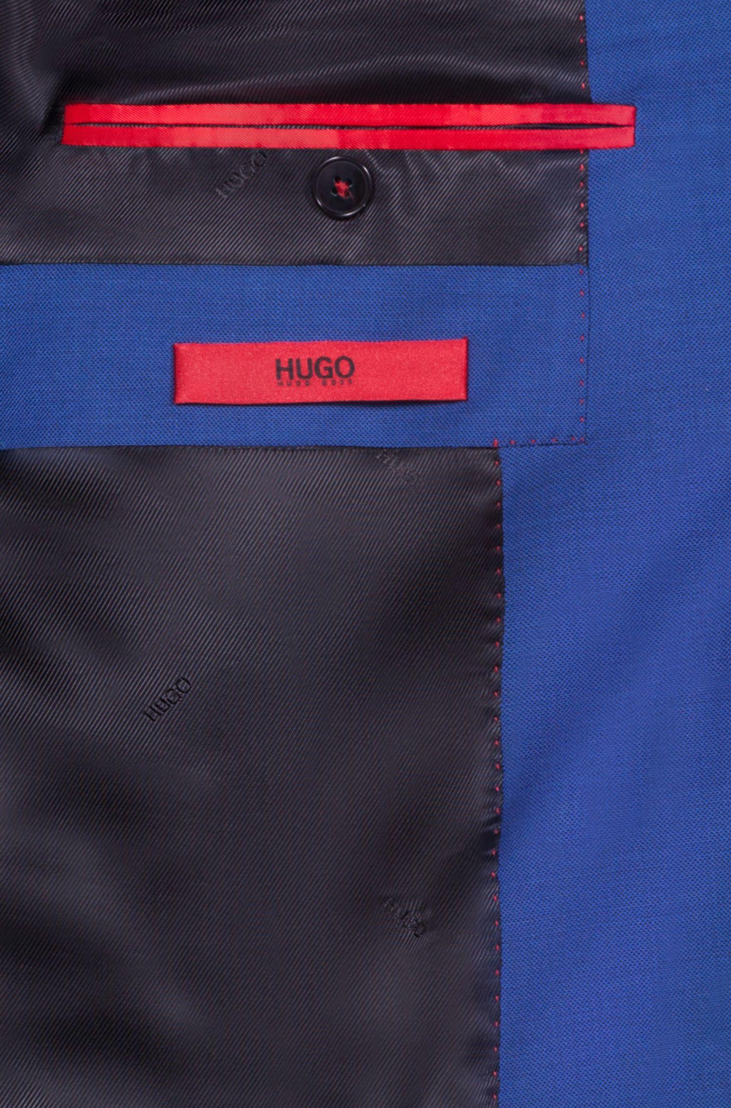 Americana extra slim fit en microsarga de lana virgen, Azul