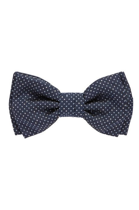 Pre-tied Italian-made bow tie in patterned silk, Dark Blue