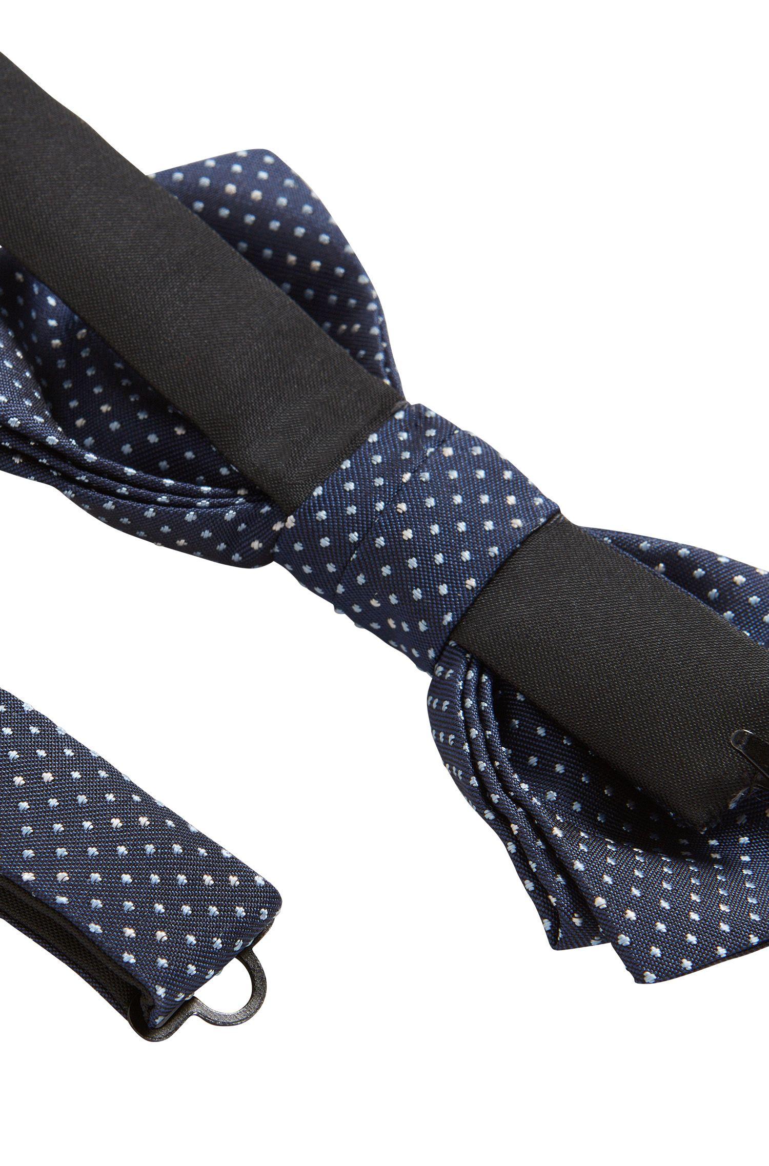 In Italië vervaardigde, voorgestrikte vlinderdas van zijde met dessin, Donkerblauw