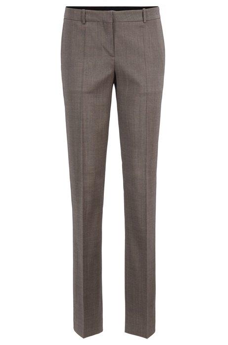 Regular-Fit Anzughose aus Schurwolle mit Sharkskin-Struktur, Dunkelgrau