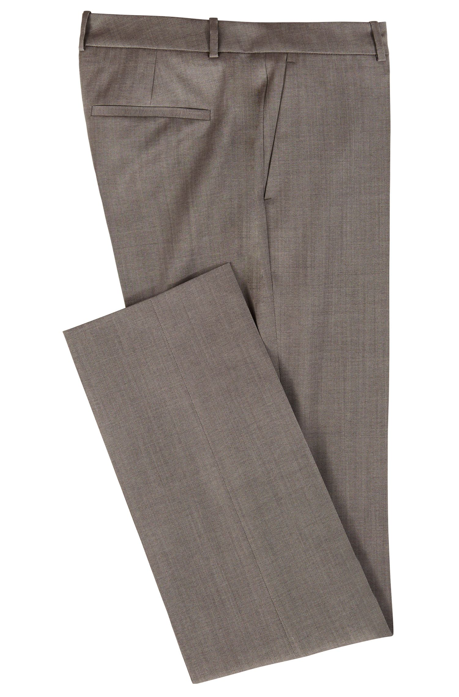 Regular-fit tailored trousers in sharkskin virgin wool, Dark Grey