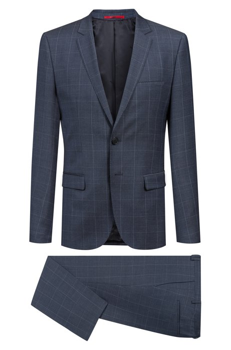 4c2db5e10 HUGO - Extra-slim-fit virgin-wool suit with windowpane check