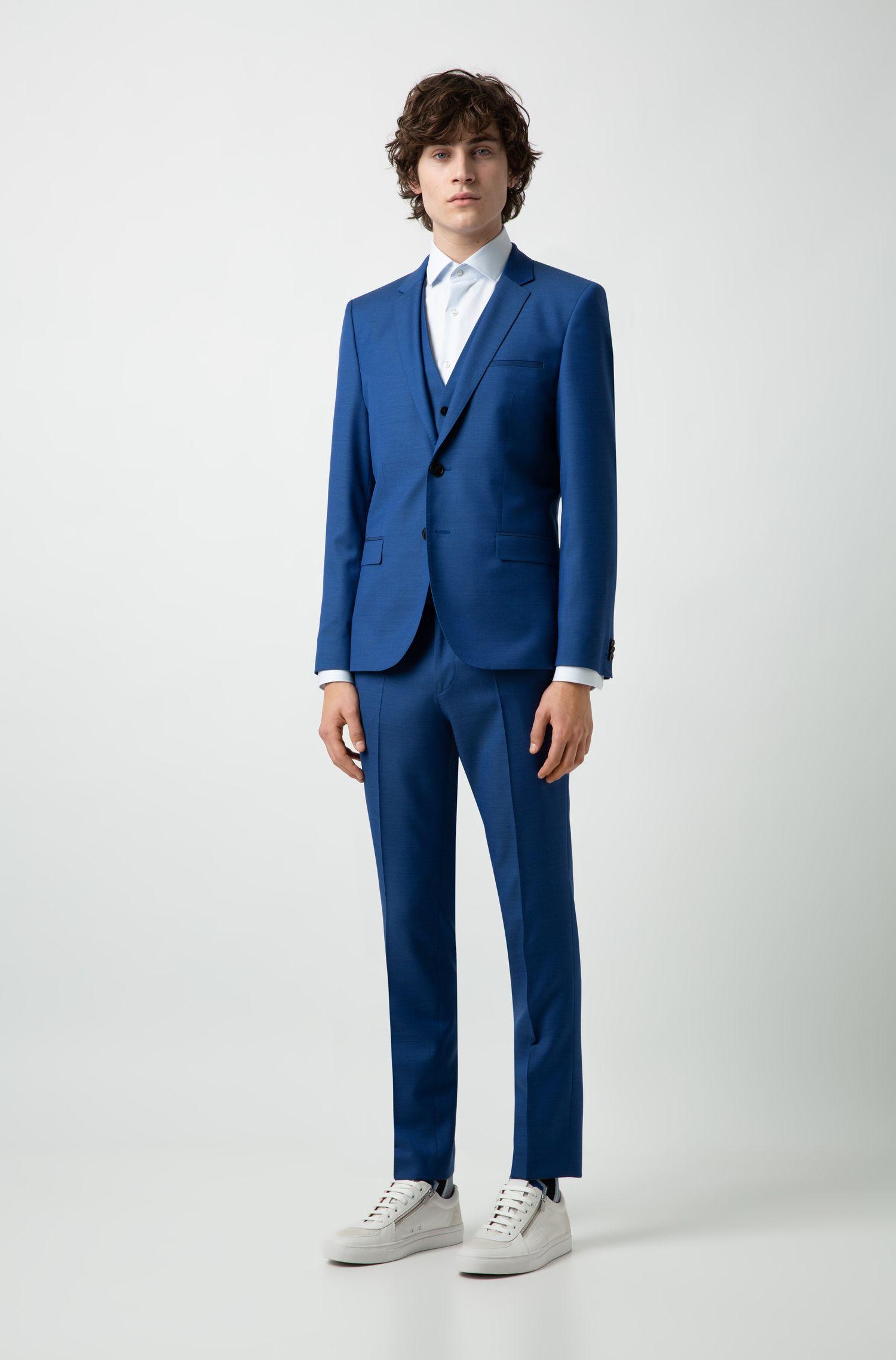Pantalon Extra Slim Fit en laine vierge microstructurée, Bleu