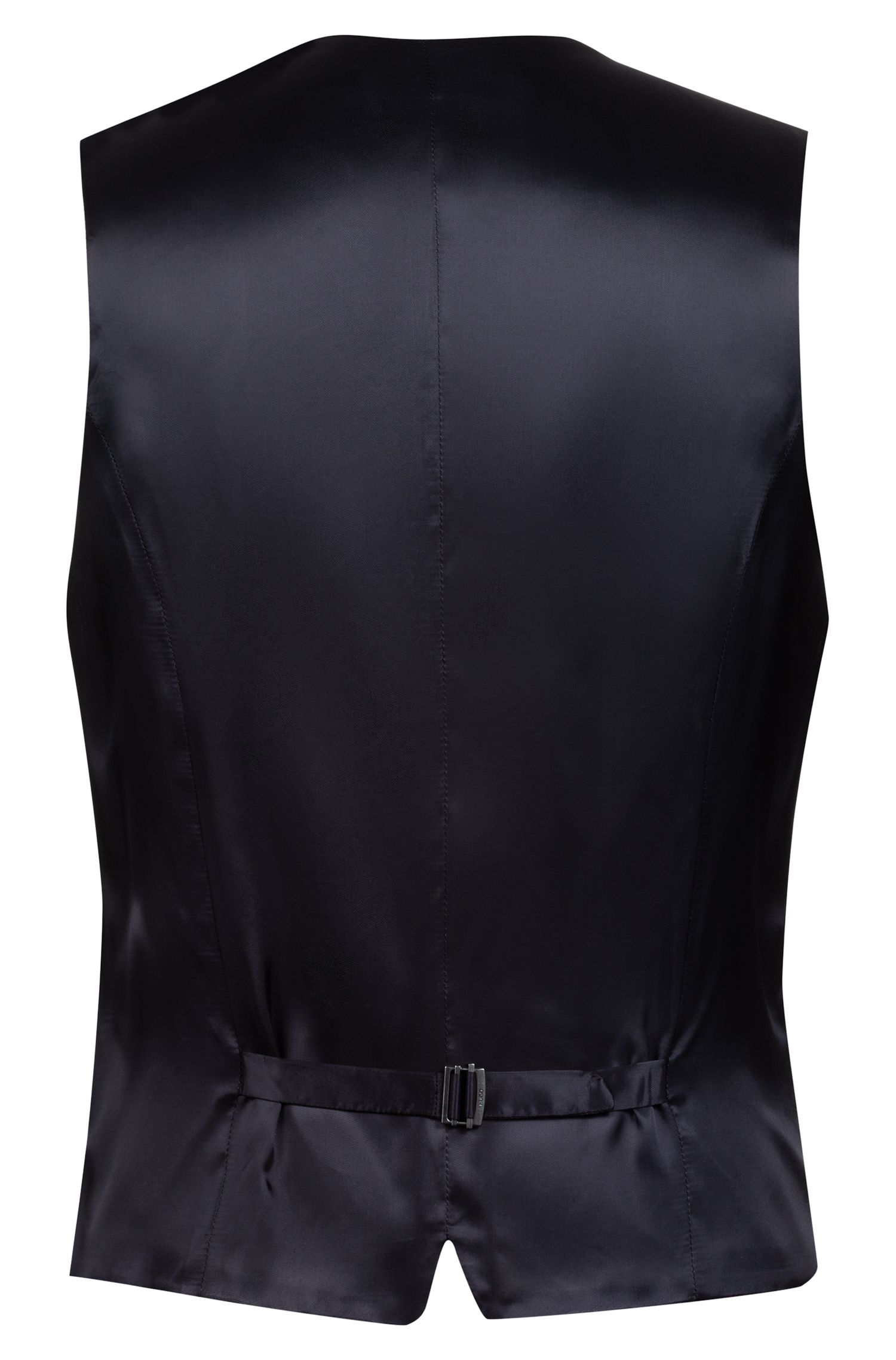 Extra-slim-fit virgin-wool waistcoat with micro structure, Blue