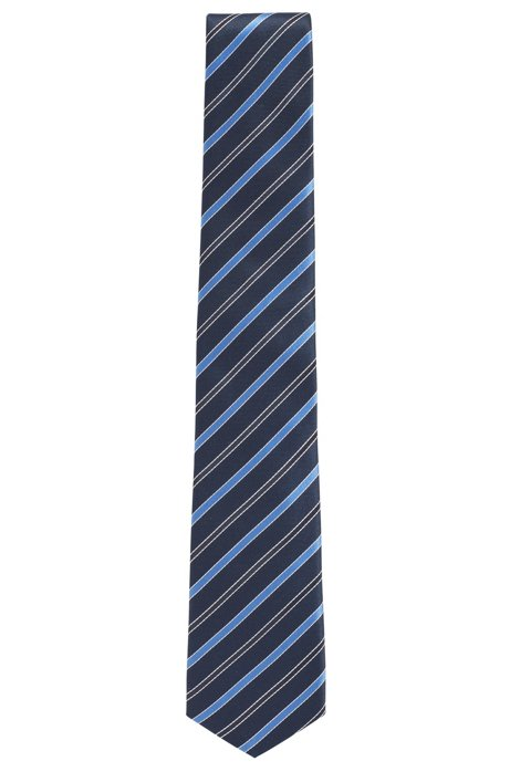 Italian-made tie in striped water-repellent silk, Light Blue