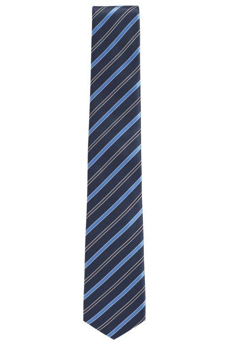 Cravate à rayures en soie déperlante confectionnée en Italie, Bleu vif