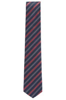 Cravate à rayures en soie déperlante confectionnée en Italie, Rouge