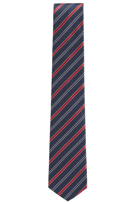 Italian-made tie in striped water-repellent silk, Red
