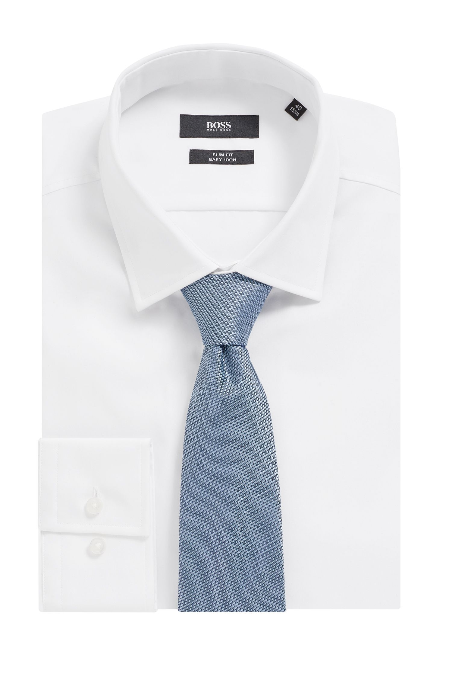 Italian-made tie in micro-patterned water-repellent silk, Light Blue