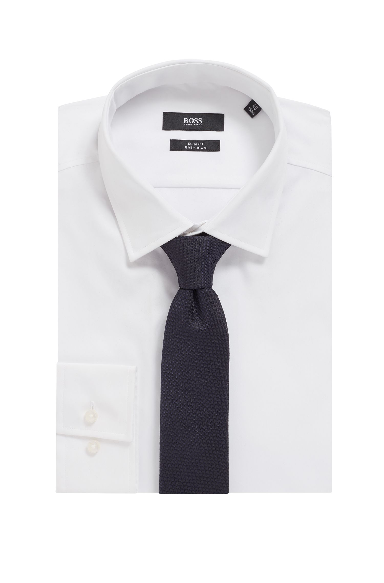 In Italië vervaardigde stropdas van jacquardgeweven zijde, Donkerblauw