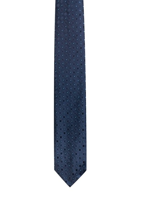 Micro-patterned tie in jacquard-woven silk, Patterned