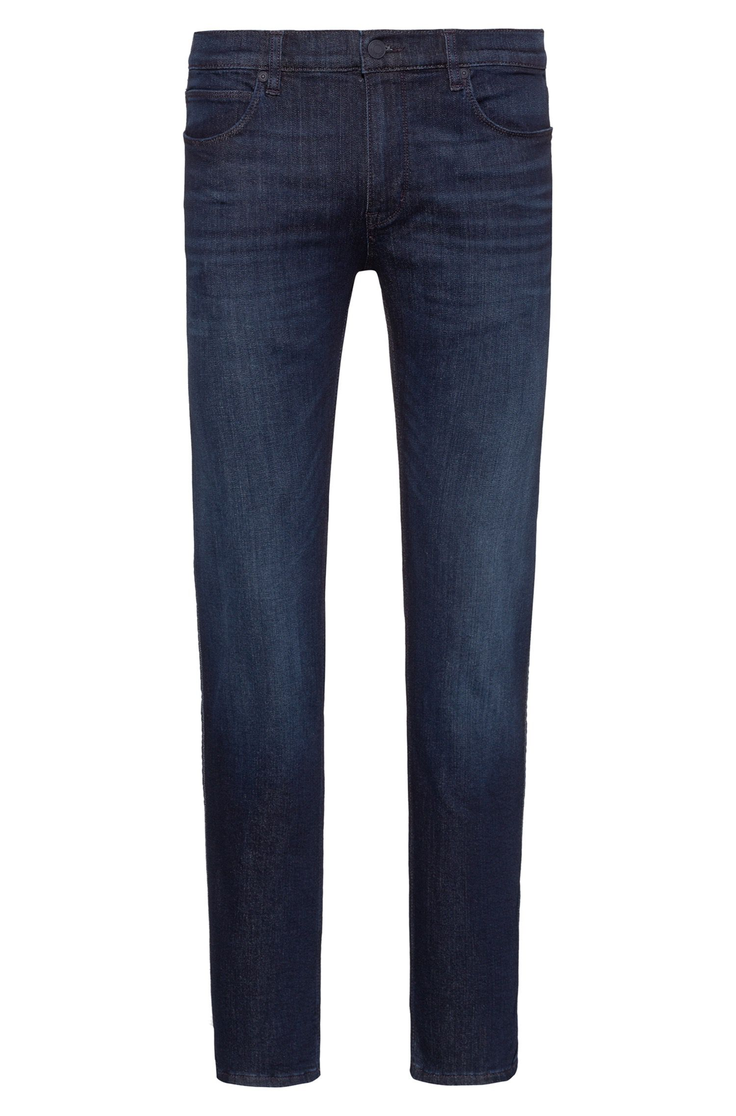 Slim-fit jeans in dark-blue stretch denim, Donkerblauw