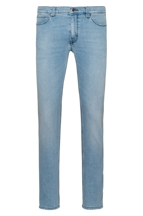 Skinny-Fit Jeans aus Stretch-Denim in Used-Optik, Hellblau