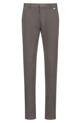 Pantalon Slim Fit en twill de coton stretch surteint, Marron