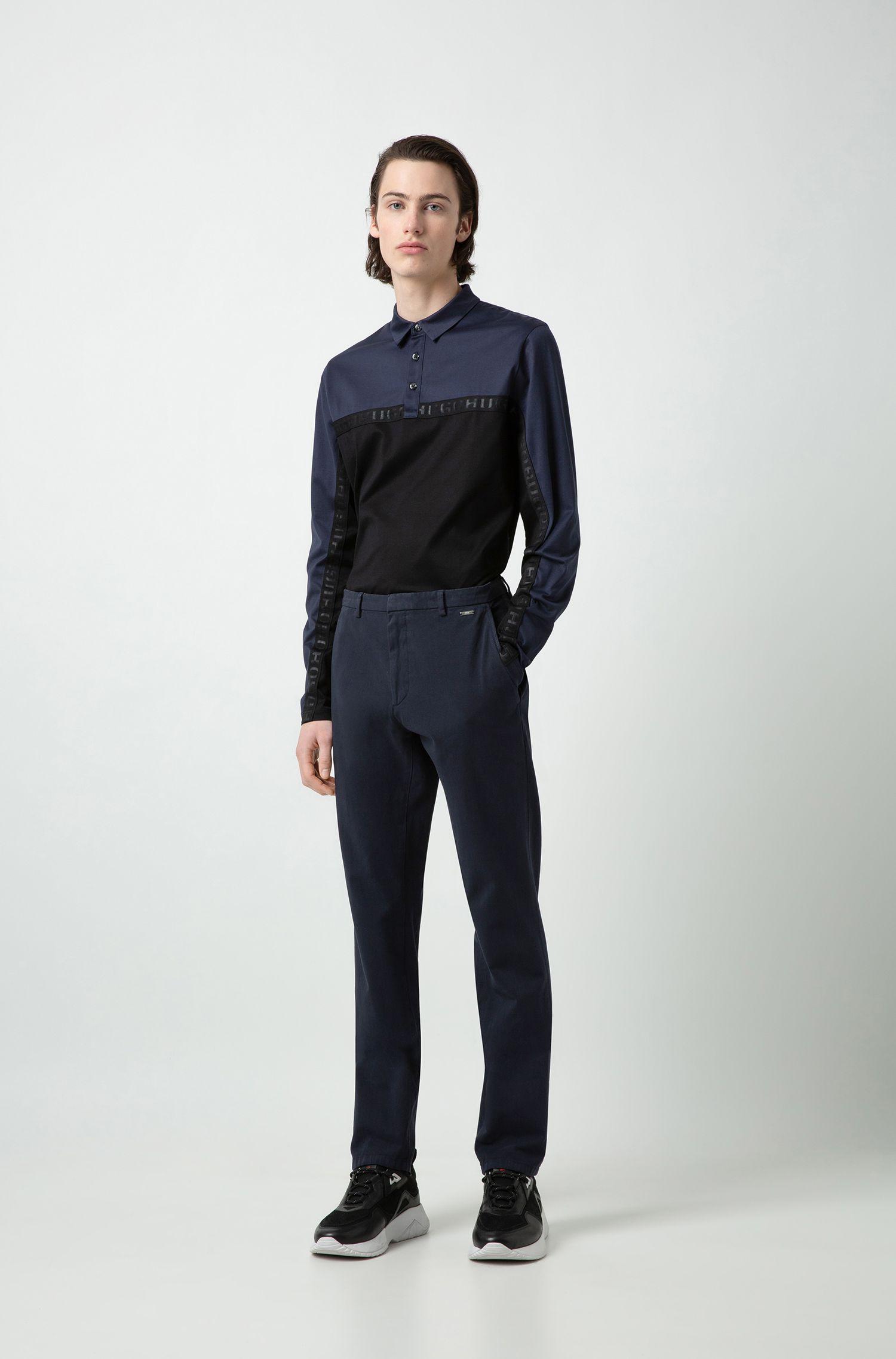 Slim-Fit Hose aus überfärbter Stretch-Baumwolle, Dunkelblau