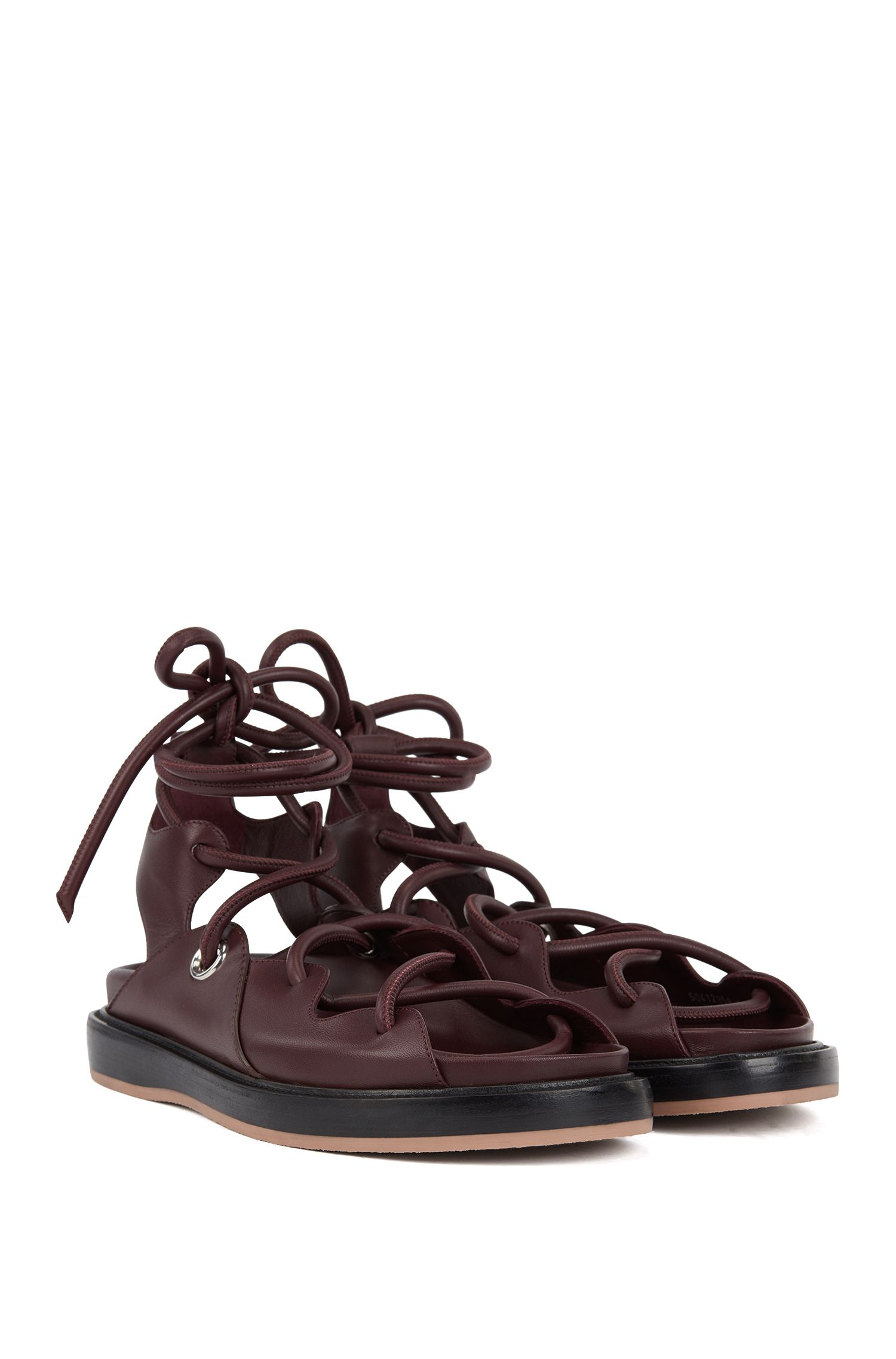 Flat leather sandals with contrast sole, Dark Red