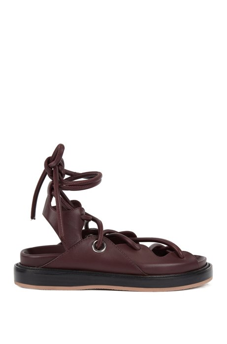 Flat leather sandals with contrast sole, Donkerrood
