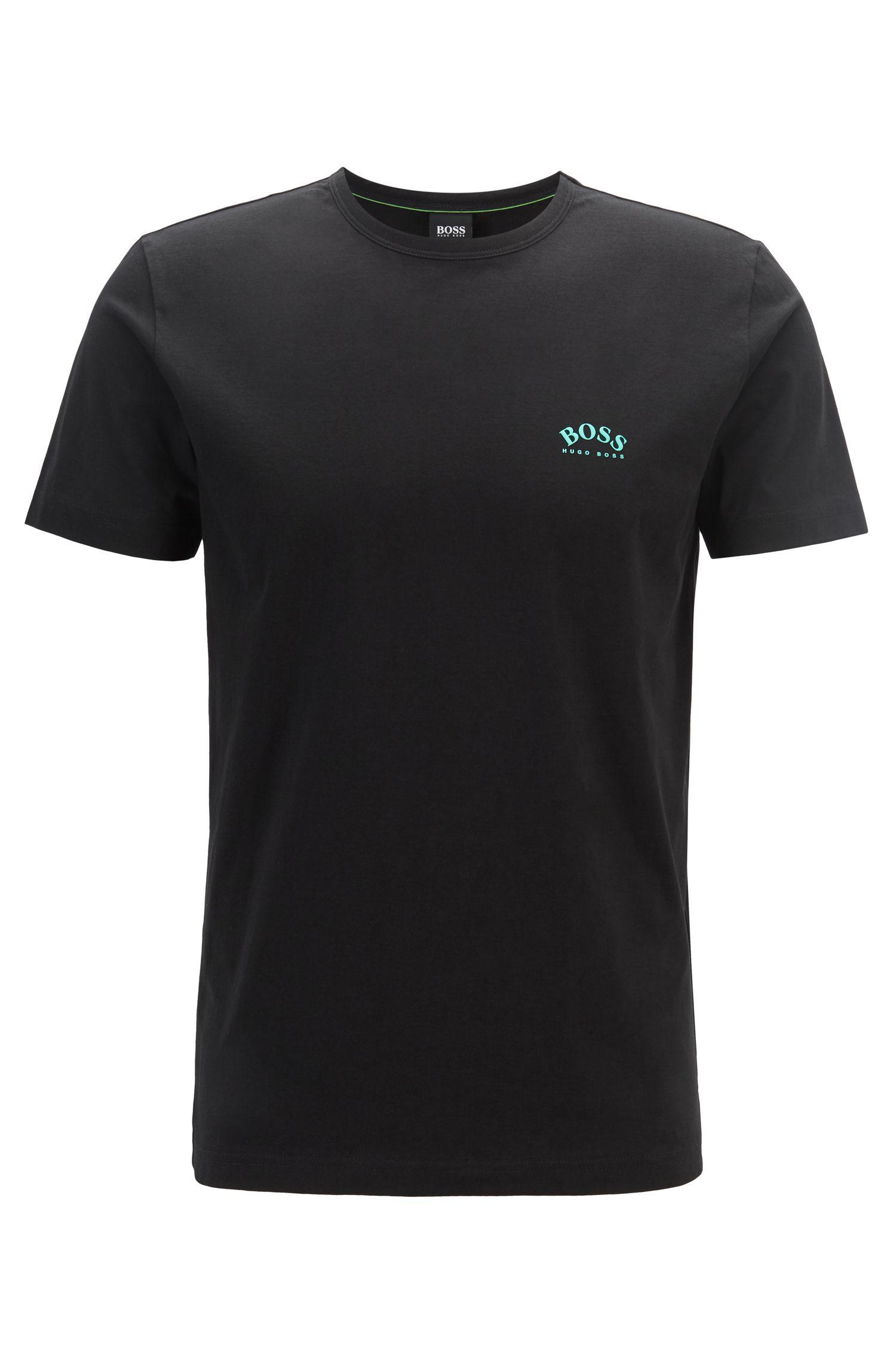 T-shirt en jersey de coton à logo incurvé, Noir