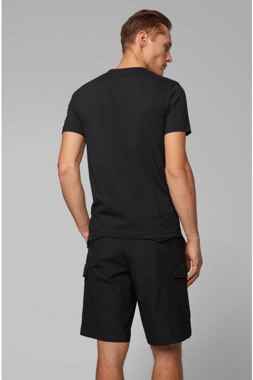 Hugo Boss - Camiseta de punto de algodón con logo curvado - 4