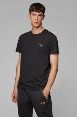 T-shirt van katoenen jersey met gebogen logo, Zwart
