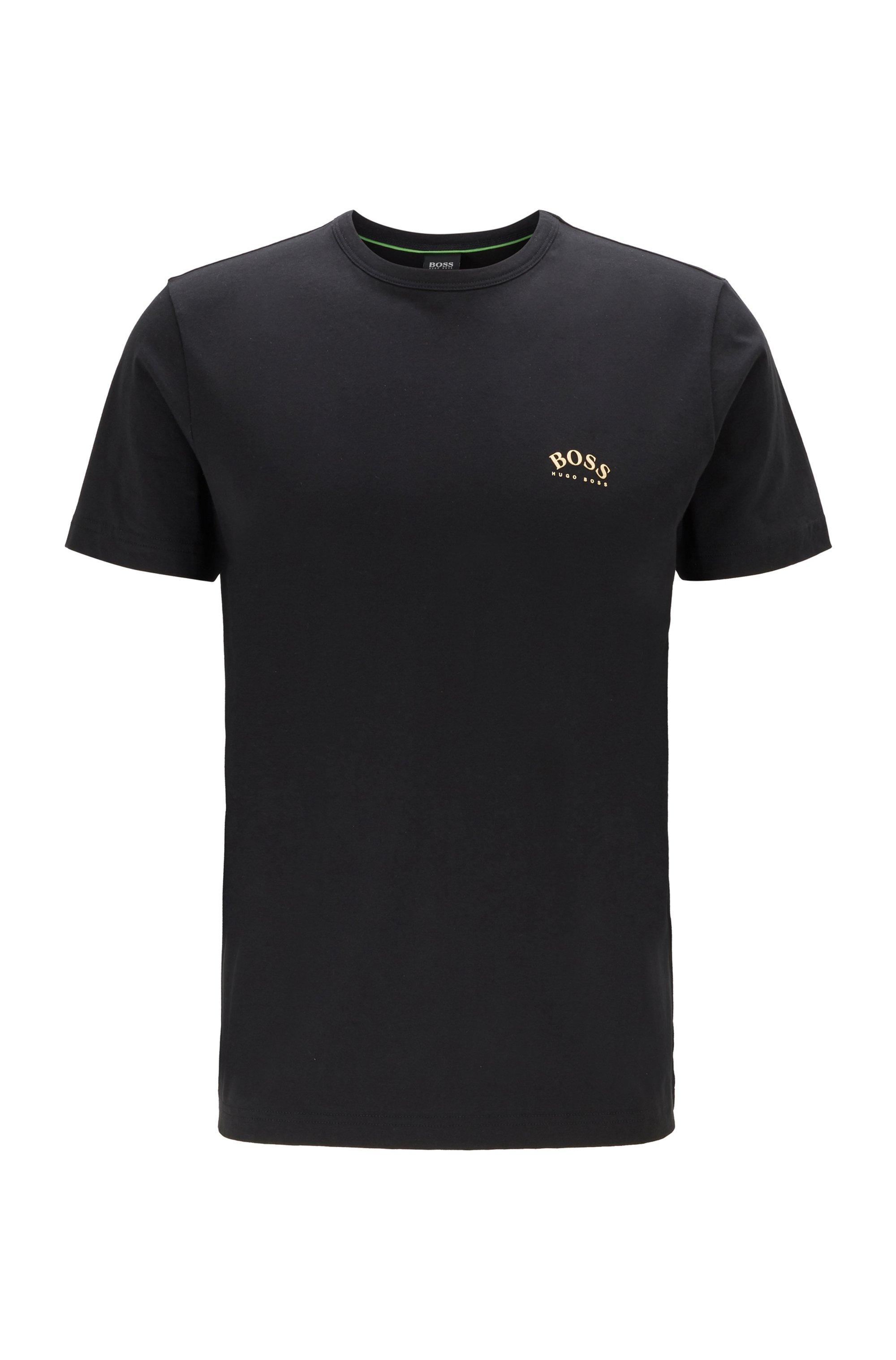 T-shirt in jersey di cotone con logo arrotondato, Nero