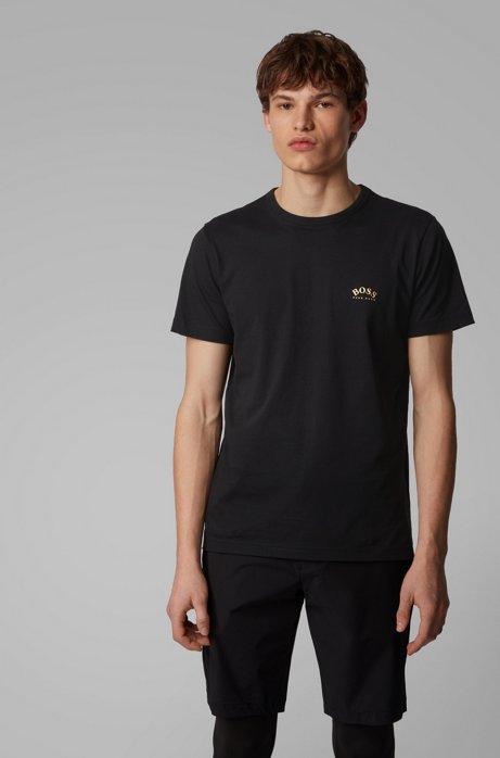 Camiseta de punto de algodón con logo curvado, Negro