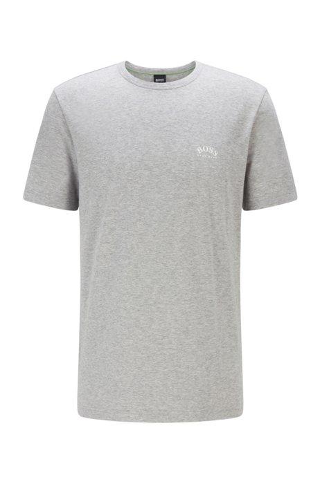 T-shirt van katoenen jersey met gebogen logo, Lichtgrijs