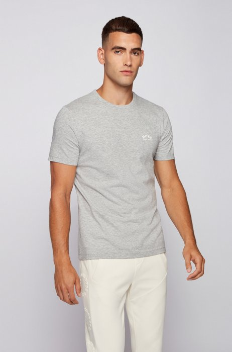 Cotton jersey T-shirt with curved logo, Light Grey