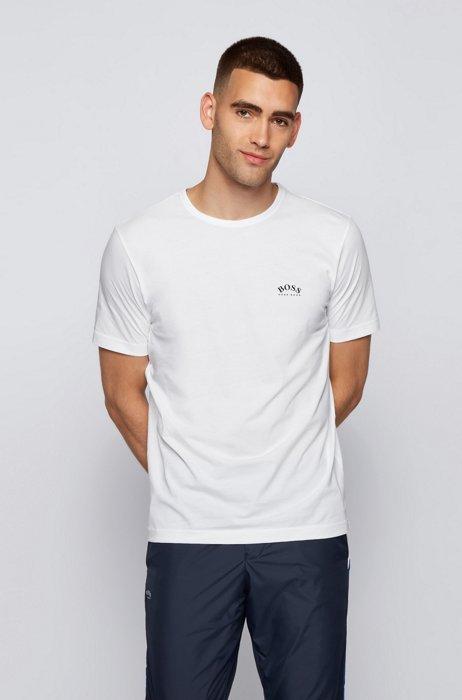 T-shirt en jersey de coton à logo incurvé, Blanc