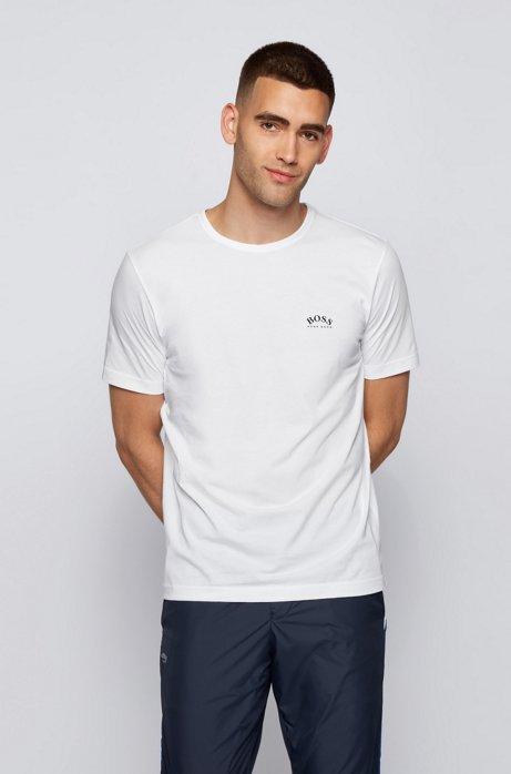 T-Shirt aus Baumwoll-Jersey mit geschwungenem Logo, Weiß
