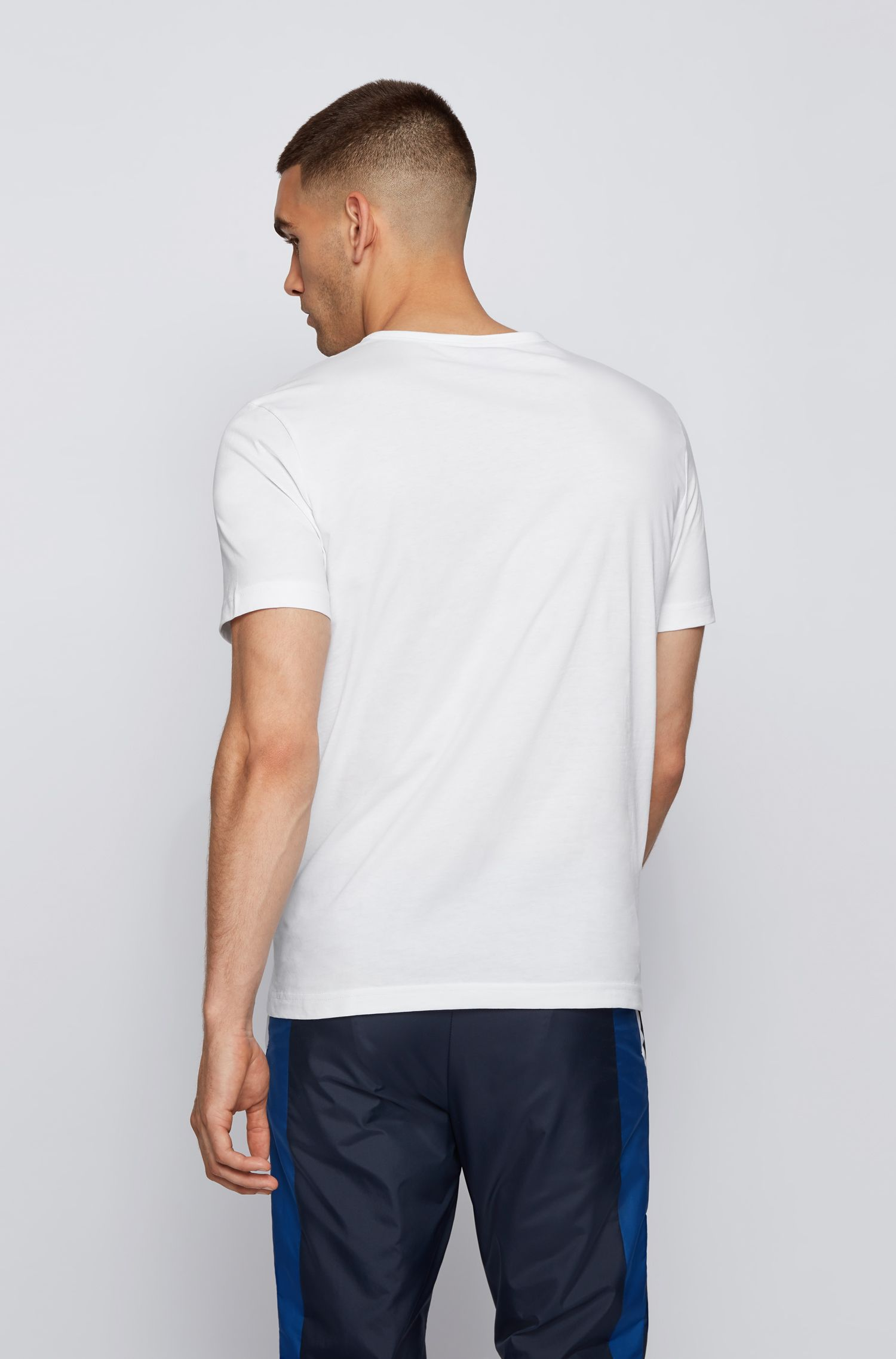Cotton jersey T-shirt with curved logo, White