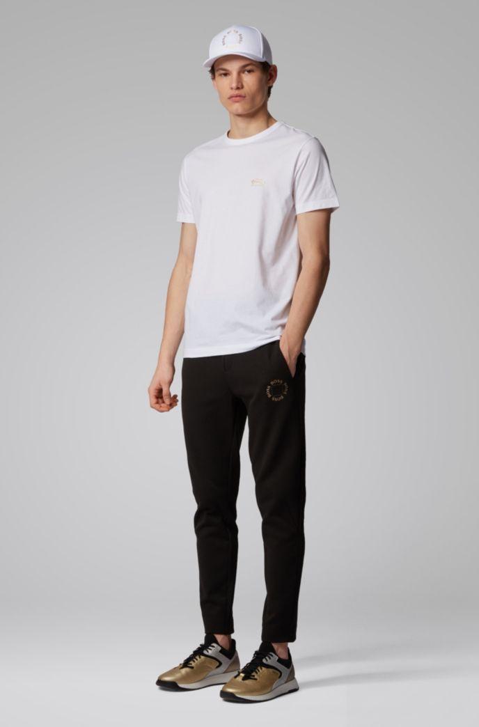 T-shirt in jersey di cotone con logo arrotondato