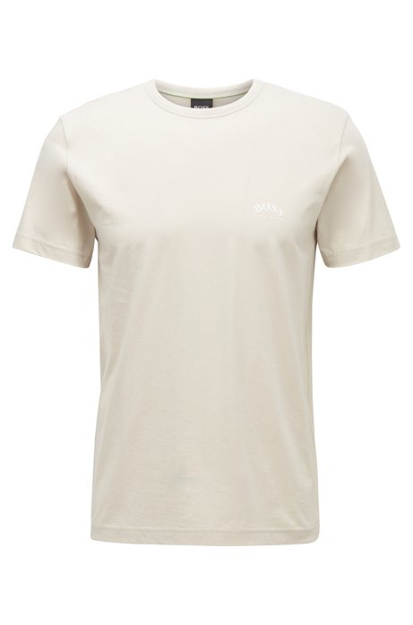 Cotton jersey T-shirt with curved logo, Light Beige