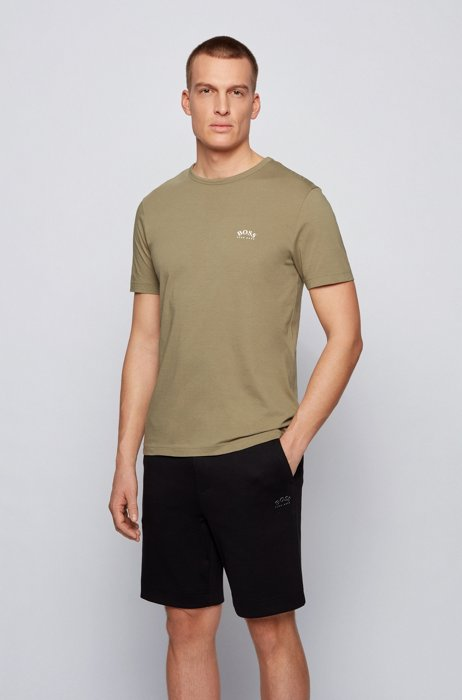 Cotton jersey T-shirt with curved logo, Beige