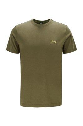 T-Shirt aus Baumwoll-Jersey mit geschwungenem Logo, Dunkelgrün