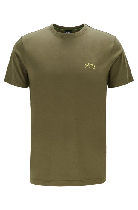 Cotton jersey T-shirt with curved logo, Dark Green