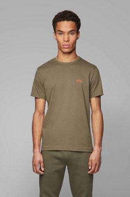 T-shirt en jersey de coton à logo incurvé, Vert sombre