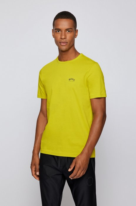 Cotton jersey T-shirt with curved logo, Yellow