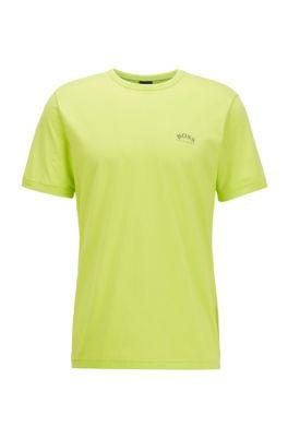 T-shirt in jersey di cotone con logo arrotondato, Verde