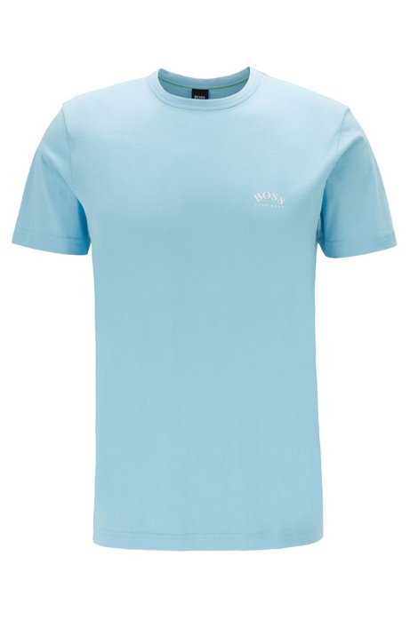 Cotton jersey T-shirt with curved logo, Light Blue