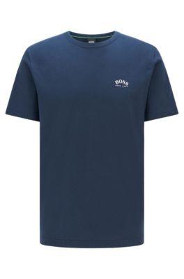 T-shirt en jersey de coton à logo incurvé, Bleu foncé