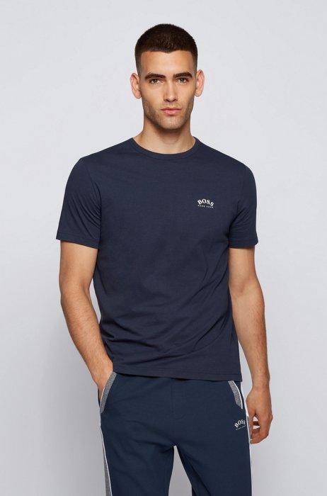 T-Shirt aus Baumwoll-Jersey mit geschwungenem Logo, Dunkelblau