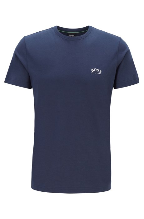 Cotton jersey T-shirt with curved logo, Dark Blue