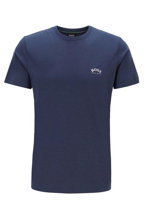 T-shirt van katoenen jersey met gebogen logo, Donkerblauw