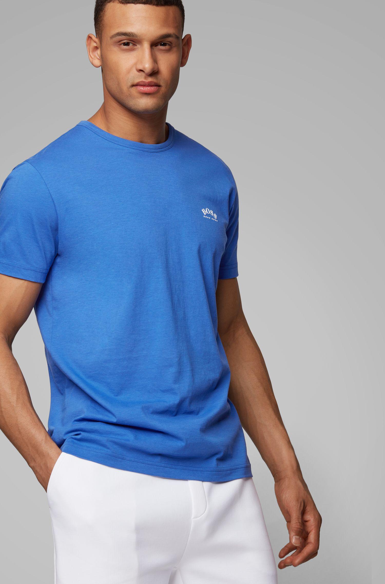 Camiseta de punto de algodón con logo curvado, Azul