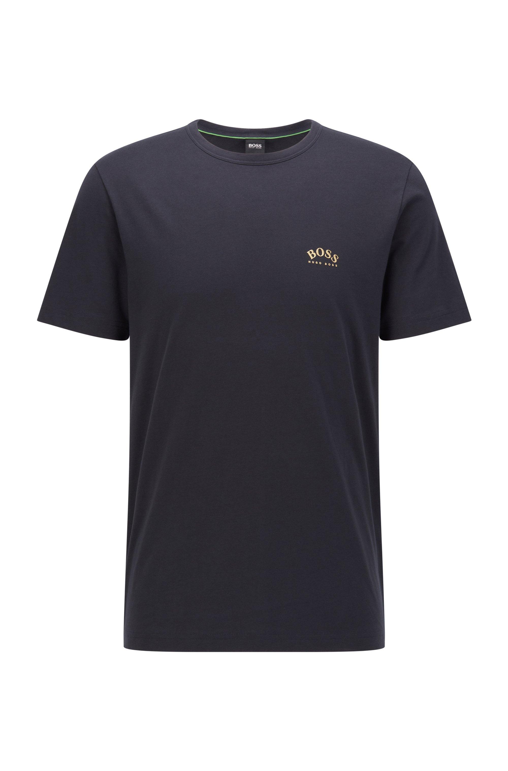 T-shirt en jersey de coton à logo incurvé, Bleu